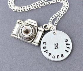 camera necklace, Personalized initial camera necklace, Capture Life capture moment, Photographer