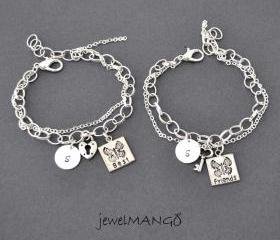 best friend bracelet, friendship bracelet set, bff, key and lock, besties, monogram jewelry, initial bracelets, best friends bracelet set