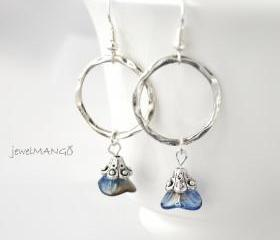 blue Sapphire Flower silver Hoop Earrings dangle earrings Three Petal Sapphire Flower