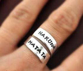Hakuna Matata ring, Custom Ring, Personalized Ring, happy ring, Best friends gifts, Twist ring, wrapped ring, Adjustable ring, no worries